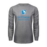 Grey Long Sleeve T Shirt-Guttman Community College Striped Shield