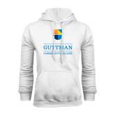 White Fleece Hood-Guttman Community College w/ Shield