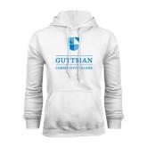 White Fleece Hood-Guttman Community College Striped Shield