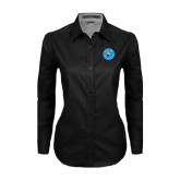 Ladies Black Twill Button Down Long Sleeve-Circle Logo