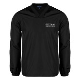 V Neck Black Raglan Windshirt-Guttman Community College Word Mark