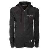 Ladies Under Armour Black Varsity Full Zip Hoodie-Guttman Community College Word Mark