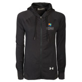 Community College Ladies Under Armour Black Varsity Full Zip Hoodie-Guttman Community College w/ Shield