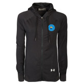 Ladies Under Armour Black Varsity Full Zip Hoodie-Circle Logo
