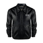 Black Leather Bomber Jacket-Guttman Community College Word Mark