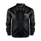 Black Leather Bomber Jacket-Guttman Community College Word Mark