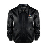Black Leather Bomber Jacket-Guttman Community College w/ Shield