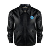 Black Leather Bomber Jacket-Circle Logo