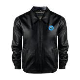 Black Leather Bomber Jacket-Circle Logo