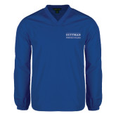 V Neck Royal Raglan Windshirt-Guttman Community College Word Mark