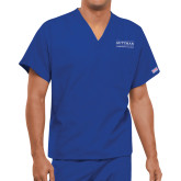 Unisex Royal V Neck Tunic Scrub with Chest Pocket-Guttman Community College Word Mark