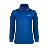 Ladies Fleece Full Zip Royal Jacket-Guttman Community College Word Mark