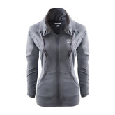 Ladies Sport Wick Stretch Full Zip Charcoal Jacket-Guttman Community College Word Mark