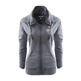 Ladies Sport Wick Stretch Full Zip Charcoal Jacket-Guttman Community College w/ Shield
