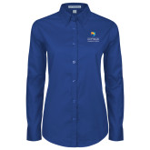 Community College Ladies Royal Twill Button Down Long Sleeve-Guttman Community College w/ Shield