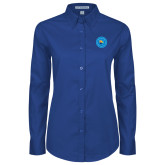 Community College Ladies Royal Twill Button Down Long Sleeve-Circle Logo