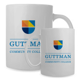 Full Color White Mug 15oz-Guttman Community College w/ Shield