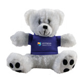 Plush Big Paw 8 1/2 inch White Bear w/Royal Shirt-Guttman Community College Word Mark