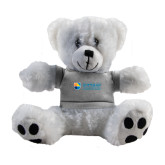 Plush Big Paw 8 1/2 inch White Bear w/Grey Shirt-Guttman Community College Word Mark