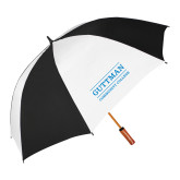 62 Inch Black/White Umbrella-Guttman Community College Word Mark