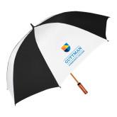 62 Inch Black/White Umbrella-Guttman Community College w/ Shield
