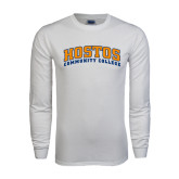 White Long Sleeve T Shirt-Hostos Community College Arch