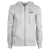 Community College ENZA Ladies White Fleece Full Zip Hoodie-Hostos Community College w/Sun
