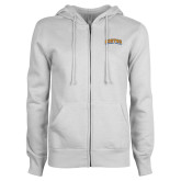 Community College ENZA Ladies White Fleece Full Zip Hoodie-Hostos Community College Arch