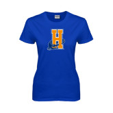 Community College Ladies Royal T Shirt-Hostos H w/Alligator
