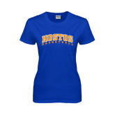 Community College Ladies Royal T Shirt-Hostos Basketball Arch