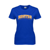 Community College Ladies Royal T Shirt-Hostos Volleyball Arch