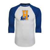 White/Royal Raglan Baseball T Shirt-Hostos H w/Alligator