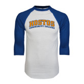 White/Royal Raglan Baseball T Shirt-Hostos Community College Arch