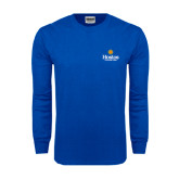 Royal Long Sleeve T Shirt-Hostos Community College w/Sun