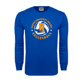 Royal Long Sleeve T Shirt-Hostos Volleyball