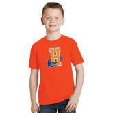 Youth Orange T Shirt-Hostos H w/Alligator