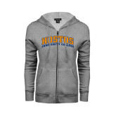 Community College ENZA Ladies Grey Fleece Full Zip Hoodie-Hostos Community College Arch