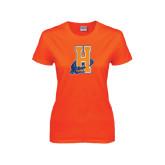 Ladies Orange T Shirt-Hostos H w/Alligator