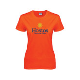 Ladies Orange T Shirt-Hostos Community College w/Sun