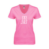 Community College Next Level Ladies Junior Fit Ideal V Pink Tee-Hostos H w/Alligator