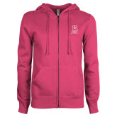 Community College ENZA Ladies Fuchsia Fleece Full Zip Hoodie-Hostos H w/Alligator
