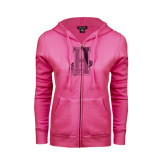 Community College ENZA Ladies Fuchsia Fleece Full Zip Hoodie-Hostos H w/Alligator Foil