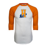 White/Orange Raglan Baseball T Shirt-Hostos H w/Alligator