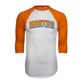 White/Orange Raglan Baseball T Shirt-Hostos Community College Arch
