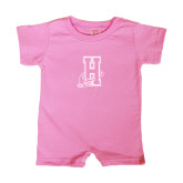 Community College Bubble Gum Pink Infant Romper-Hostos H w/Alligator
