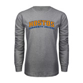 Grey Long Sleeve T Shirt-Hostos Community College Arch