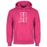 Community College Fuchsia Fleece Hoodie-Hostos H w/Alligator