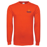 Orange Long Sleeve T Shirt-Hostos Community College w/Sun
