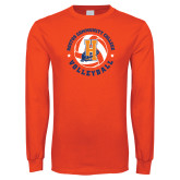 Orange Long Sleeve T Shirt-Hostos Volleyball