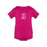Community College Fuchsia Infant Onesie-Hostos H w/Alligator